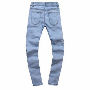 Mens Ripped Slim Fit Vintage Denim Jeans - esstey