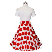 Load image into Gallery viewer, Ladylike Patchwork Vintage Short Dress - Red Dots, Black Dot ,Floral White Plus Size - esstey