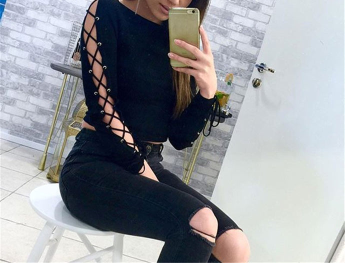 Sexy Lace Sleeve T-Shirt for Women | New Arrival 2018 - esstey