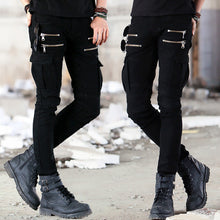 Load image into Gallery viewer, Mens soldier Green Black Denim Biker jeans - Skinny Distressed slim elastic jeans - esstey