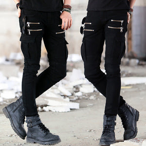 Mens soldier Green Black Denim Biker jeans - Skinny Distressed slim elastic jeans - esstey