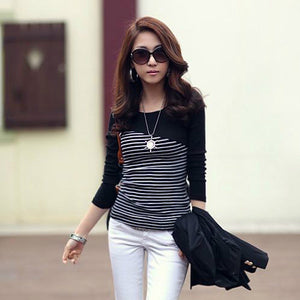 Women's Black and White T Shirt Striped & long Sleeve | Casual Ladies Tops - esstey