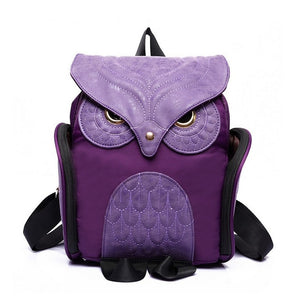 Owl shaped solid leather backpack for travelling and students - esstey