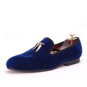 Men Loafers - velvet signature shoes with gold metal shark tooth charms - esstey