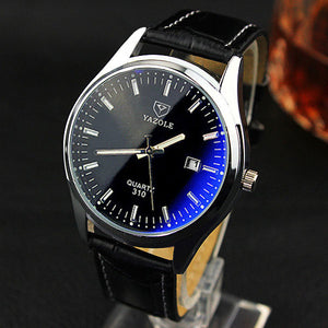 Premium Quartz Blue Glass Watch - Stainless Steel, Big Round Dial - esstey