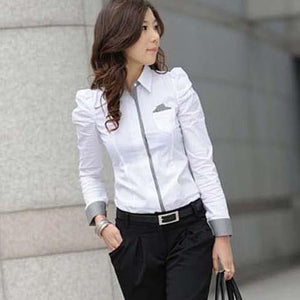 Women White Cotton Shirt with Puff Sleeves | Elegant Women Fashion Blouses - esstey