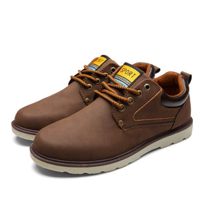 Men Solid Leather Shoes - Waterproof Lace-up Leather Shoes - esstey
