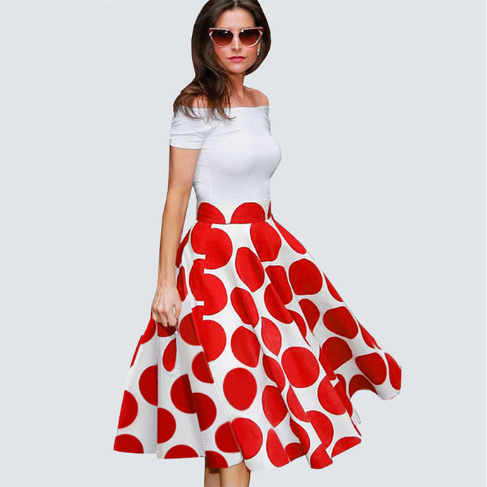 Ladylike Patchwork Vintage Short Dress - Red Dots, Black Dot ,Floral White Plus Size - esstey