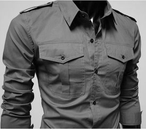 Musculine Men Shirt with Double Pockets, Long Sleeve and Slim Fit - esstey