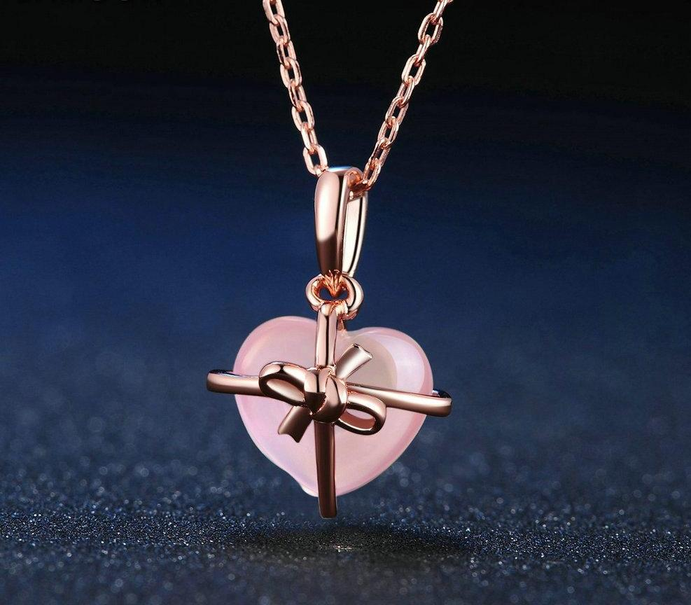 Pink Rose Heart Drop Chain Necklace for Women | Quartz Rose Gold Gemstone Necklace - esstey
