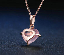 Load image into Gallery viewer, Pink Rose Heart Drop Chain Necklace for Women | Quartz Rose Gold Gemstone Necklace - esstey