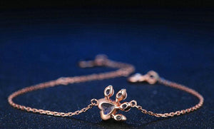 Paw & Heart Rose Gold Chain Bracelet For Women | Heart Pink Rose Quartz Sterling Silver Bracelet - esstey