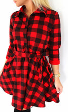 Load image into Gallery viewer, Women Leisure Vintage Plaid Dress | Check Print Casual Dress - esstey