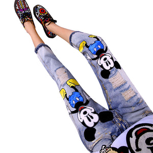 Cute Mickey Mouse Printed Jeans | New Arrival 2018 - esstey
