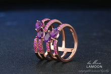 Load image into Gallery viewer, 4 Amethyst Silver Rings | New Arrival 2018 - esstey