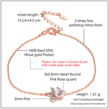 Load image into Gallery viewer, Paw & Heart Rose Gold Chain Bracelet For Women | Heart Pink Rose Quartz Sterling Silver Bracelet - esstey