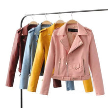 Load image into Gallery viewer, Women Leather Jacket with Zipper and vibrant colors - yellow,red,blue,black and pink - esstey