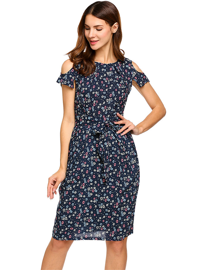 Women Short Sleeve Floral Dress | Vintage Summer Dress 2018 - esstey
