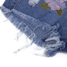 Load image into Gallery viewer, Fashion Embroidery Ripped Denim Shorts | New Arrival 2018 - esstey