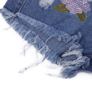 Fashion Embroidery Ripped Denim Shorts | New Arrival 2018 - esstey
