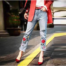 Load image into Gallery viewer, Stunning Plus Size Embroidery Denim Jeans | New Arrival 2018 - esstey