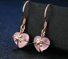 Load image into Gallery viewer, Pink Rose Heart Drop Earrings For Women | Quartz Sterling Gold Plated Pink Rose Earrings - esstey
