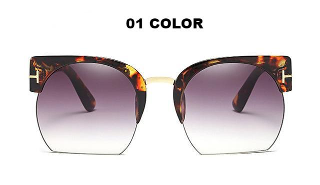 Women's Most Trendy Semi-Rimless Sunglasses -  Designer Eyewear Clear Lens Sun Glasses For Fashion Ladies - esstey