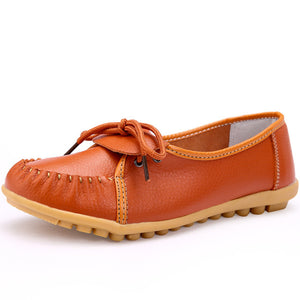 Genuine Leather Women's Flat Shoes - Casual & Formal Wear - esstey