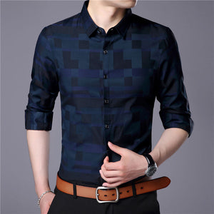 Men's Formal Cotton Shirt with Plaid Pattern | Casual Business Shirt for Men - esstey
