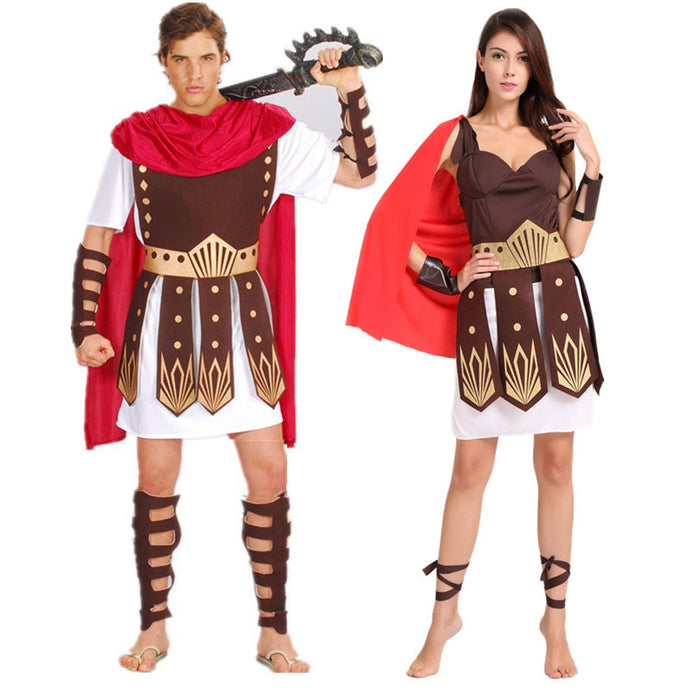 Halloween Ancient Roman Greek Warrior Gladiator Costume for Couples - esstey