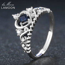 Load image into Gallery viewer, Princess Cut Silver Sapphire Crown Ring | New Arrival 2018 - esstey