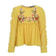 Load image into Gallery viewer, Floral Embroidery Print Elegant Shirt for Women With Long Sleeves - esstey