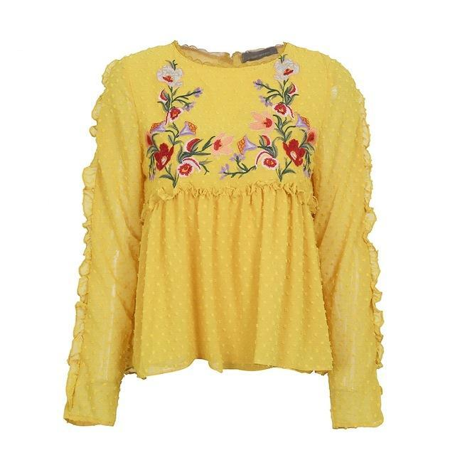 Floral Embroidery Print Elegant Shirt for Women With Long Sleeves - esstey