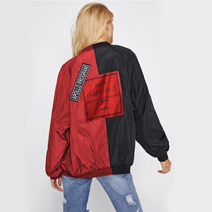 Women  Two Tone Patch Bomber Jackets- Street wear Look - esstey