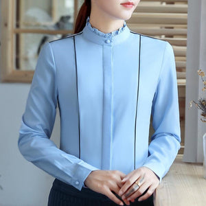Women's formal Slim & Stand Collar Chiffon Shirt With Long Sleeves - Office ladies plus size Patchwork tops - esstey