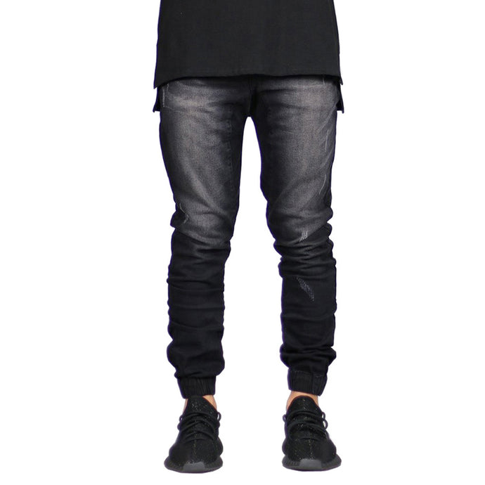 Men Denim Jeans - Hip Hop Denim Jogger Pants