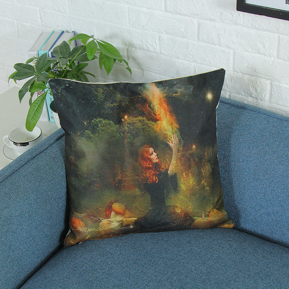 Halloween Zombie Print Pillowcase Linen Cotton Sofa Cushion Cover Home Decor - esstey