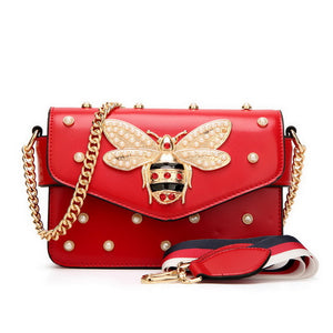 Stylish Women Beetle Handbag - Pearls and Diamonds decoration - esstey