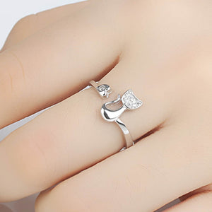 Women Crystal Cat Shaped Party Jewelry Delicate Rose Gold Silver Tone - esstey