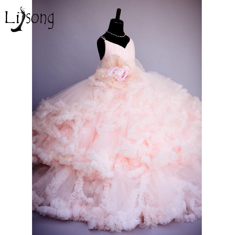 Pink Ruffled Princess Gown | New Arrival 2018 - esstey