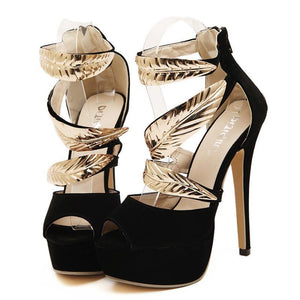 Golden Metal Leaves High Heels Sandals for Women- Ladies Party Shoes - esstey
