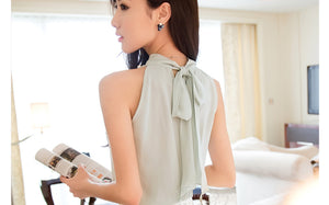 Women's Fashion Beading Chiffon Blouse Sleeveless Turtleneck Chiffon Shirt - esstey