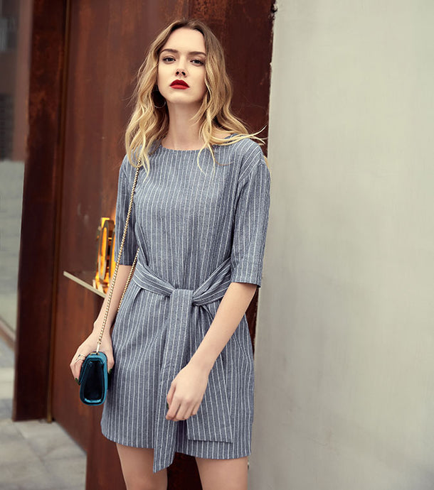 Women's Casual Striped & Short Sleeve Dress Summer -Sashes Style Dresses For Female - esstey