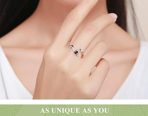 Women Sterling Silver Ring Jewellery - Sticky Cute Cat with Long Tail Finger Ring for Women - esstey