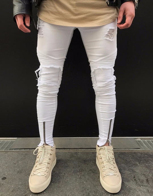 Men's White Vintage Denim Jeans -Street wear Ripped Pants