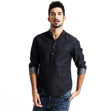 Load image into Gallery viewer, Men Denim fashion shirt cotton and linen casual clothing - esstey