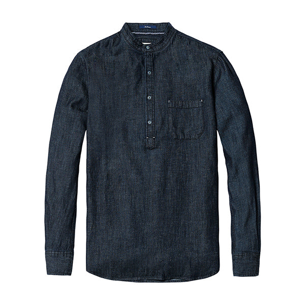 Men Denim fashion shirt cotton and linen casual clothing - esstey
