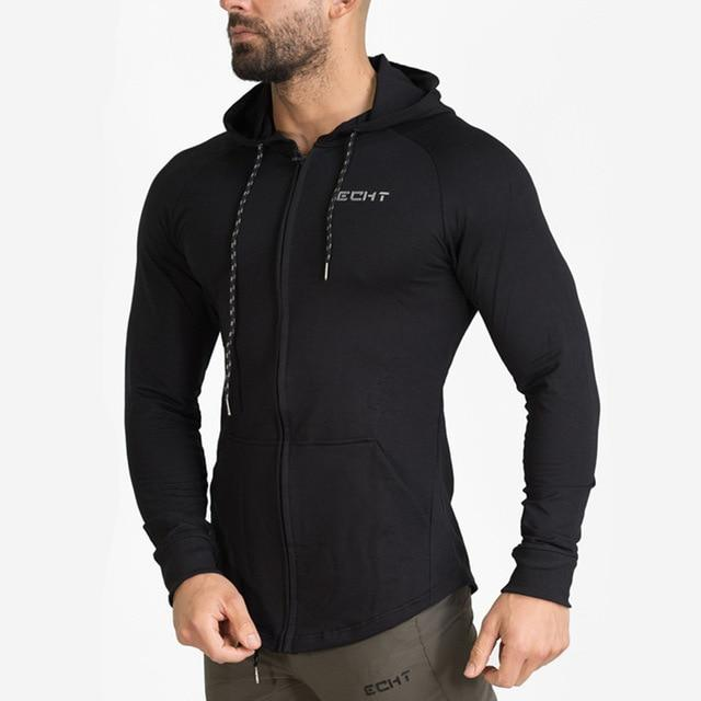 Men cotton sports hoodie for gym workouts and casual wear - black - esstey