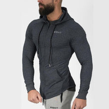 Load image into Gallery viewer, Men cotton sports hoodie for gym workouts & casual wear - Gray - esstey