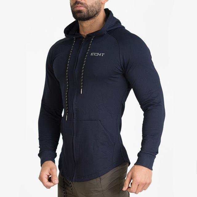 Men cotton sports hoodie for gym workouts and casual wear - Navy blue - esstey